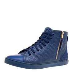 dae1e98dcf6f Louis Vuitton Blue Monogram Empreinte Leather Punchy High Top Sneakers Size  39