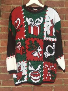Vintage Ugly Christmas Sweater, Sparkly pullover, Adult Size S Small Holiday Sweater, Ugly Sweater Party Holiday Sweaters, Winter Sweaters, Long Sweaters, Ugly Christmas Sweater, Ugly Sweater Party, Party Gifts, Pullover, How To Wear, Shirts