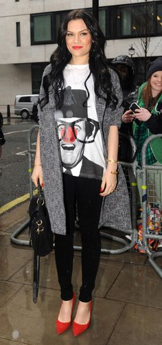 jessie j style. Don't care for the shirt though| Jessie J at the BBC Radio 2 studios