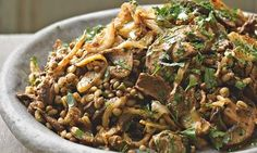 Yotam Ottolenghi's pot barley with lentils, mushrooms and fried onion: Good enough to have by itself as a light evening meal. Photograph: Colin Campbell for the Guardian. Food styling: Claire Ptak