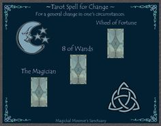 Magickal Moonie's Sanctuary  Tarot spell for Change  By Janina Renee  http://www.amazon.com/Tarot-Spells-Llewellyns-New-Series/dp/0875426700    For spells designed to bring about changes in one's self, one's circumstances in life or one's environment . The important cards are the Magician, which represents the individual taking the initiative in bringing about changes. And The Wheel of fortune, which when surrounded by positive cards represents change, evolution and progress.