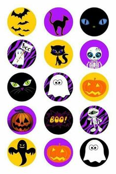 15 one inch circles Grab Bag Set 1 : pour mémo, loto, pions . Halloween Fonts, Halloween Fashion, Halloween Cards, Holidays Halloween, Happy Halloween, Halloween Decorations, Bottle Cap Projects, Bottle Cap Crafts, Decorated Cookies