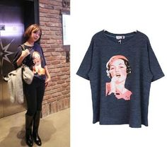 Vintage Style Oversized 80s Print Knitted Navy TOP TEE Women NEW    ONLY $26.99 !!