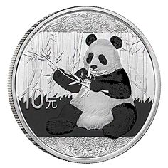 2017 China Panda Silver Coin Following last year's design, the new 2017 Pandas will adhere to the metric system of measurement and will weigh 30 grams (.9645 ounces) instead of one full ounce.  All Pandas are guaranteed to be in Gem Brilliant Uncirculated condition, and with the annual change in design, and unique mint variations, the price of Silver Pandas has appreciated over time making them highly sought after by collectors and investors.