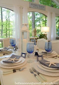 via Between Naps on the Porch /Martha/'s Vineyard. Blue and White Beach Coastal Themed Table Setting