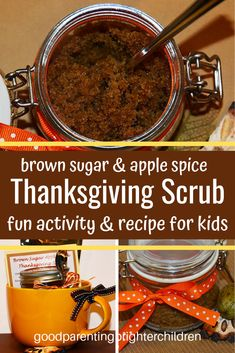 The best holiday sugar scrubs to make with kids. Recipes for DIY holiday DIY sugar scrub recipes; skin-enhancing nutrients, sugar scrub benefits & 10 tips for healthier skin. Teach your kids critical thinking skills and make learning come alive! Diy Thanksgiving Crafts, Thanksgiving Activities, Thanksgiving Recipes, Halloween Activities, Christmas Activities, Sugar Scrub Homemade, Sugar Scrub Recipe, Christmas Traditions Kids, Family Traditions