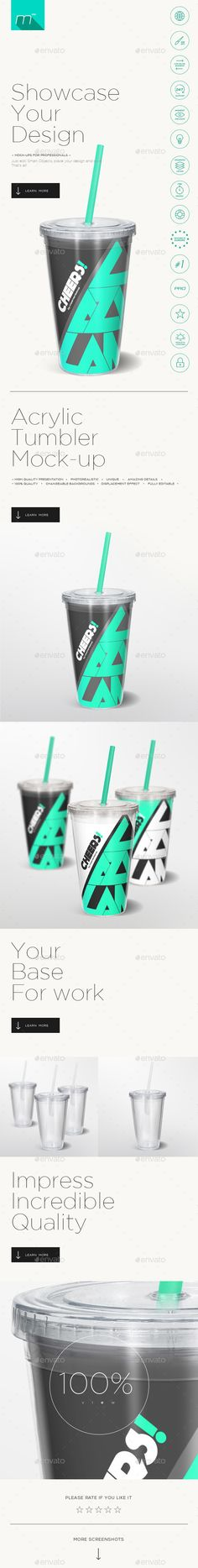 Acrylic Tumbler Mockup — Photoshop PSD #customize #fast • Available here → https://graphicriver.net/item/acrylic-tumbler-mockup/13936804?ref=pxcr