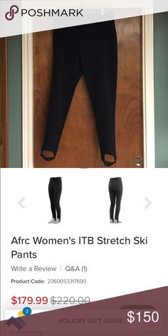 Women's AFRC ITB STretch ski pants Black stretchy legging like ski pants with stretch mesh stirrups. They are thin and comfortable to move in while keeping you stylish and warm on the slopes. Only worn once! afrc Pants Skinny