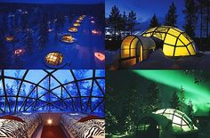 #Igloo resort in Finland...made of windows so you can see the northern lights.