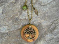 Kette Olivenholz Lebensbaum grüne jade Baum des Lebens olive