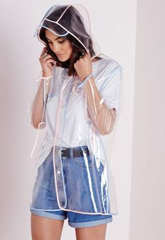 Clear Hooded Rain Mac With Pastel Trim - Festival Jackets - Coats and Jackets - Missguided