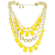 "Kate Spade New York ""Treasure Chest"" Yellow Statement Necklace ($428) ❤ liked on Polyvore featuring jewelry, necklaces, accessories, yellow bib necklace, long bib necklace, yellow jewelry, bib jewelry and long statement necklace"