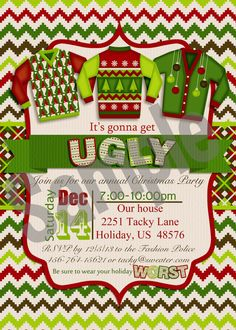 Ugly and Tacky Christmas Sweater Holiday Party Invitation...