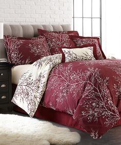 Burgundy & Ivory Foliage Six-Piece Comforter Set