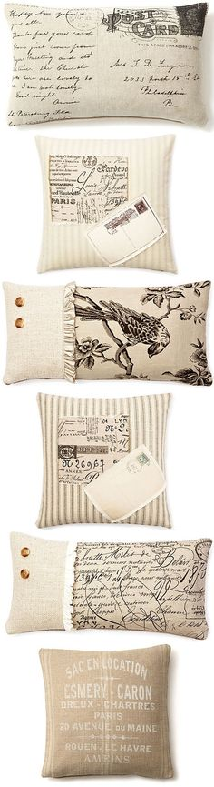 For the bed INSPIRATION :: More French Laundry Home pillow ideas using fabric & transfers. Sewing Pillows, Diy Pillows, Decorative Pillows, Pillow Ideas, Throw Pillows, Pillow Fabric, Knot Pillow, French Decor, French Country Decorating