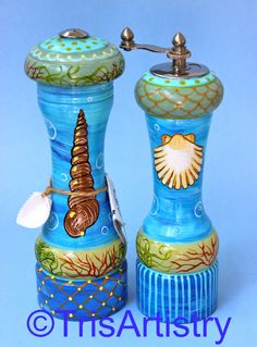 Hand Painted Beach Pepper Mill & Salt Shaker by TrisArtistry, $150.00 See more of my work at  www.etsy.com/shop/TrisArtistry Follow me on Facebook at www.facebook.com/TrisArtistry