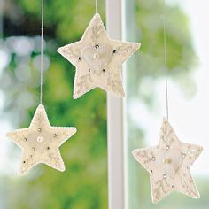 Delicate stars make perfect tree or window adornments -- and you don't even need a pattern! To make, cut simple shapes from felted wool and embellish with embroidery floss, pearl beads, and crystal accents. To add visual variety to your display, change the size of star and type of accents.