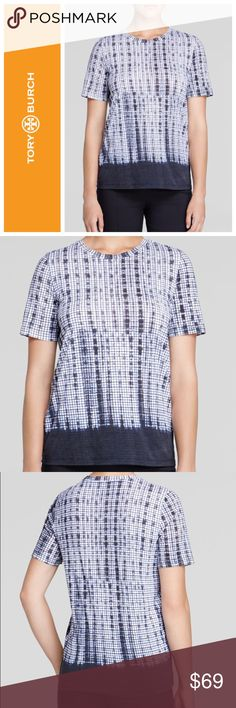 Tory Burch grid print short sleeve tee shirt Modern graphic grid print on this super soft Pima cotton tee from designer Tory Burch. Wear with jeans or trousers. Size XS. Retails for $150. In excellent condition. Tory Burch Tops Tees - Short Sleeve