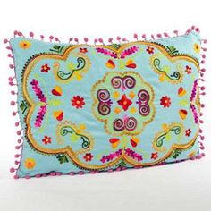 turquoise karma living botanical crewel embroidered rectangular pillow