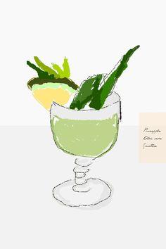 #aloe vera #pineapple #smoothie #illustration #taki trik #light #grey #drink #fruit  mmm    /impressed by pic from  zhttp://befairbefunky.tumblr.com/post/47043740550/yummie-pineapple-aloe-vera-smoothie    http://takitrik.tumblr.com/ tutaj w ogromniastym rozmiarze