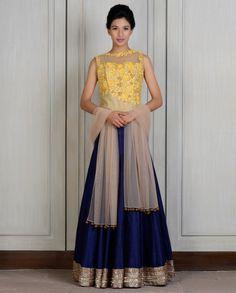 Yellow blue corset lehenga – Panache Haute Couture