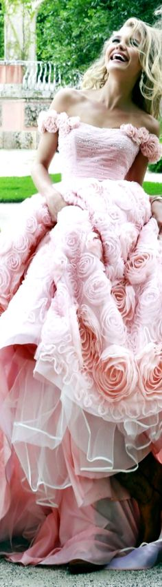 Sherri Hill V - - pink couture woman girl pink evening gown ballgown dress fashion designer style fabric roses big skirt #designer #couture #pink
