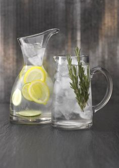 Smarten up tap water by putting a generous amount of ice in a large jug, add lemon slices, ribbons of cucumber or rosemary,