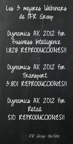 El 8 de marzo, nuestro Canal experto Microsoft Dynamics en IFR Group YouTube cumplió 1 año. ¡Felicidades a todos! http://www.youtube.com/user/IFRGroup