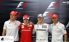 Exciting days before Michael's first race, after his comeback and three-year break from racing - here on 11 March 2010 in the paddock, at the official driver's photo of the Bahrain GP and at the press conference with Fernando Alonso, Jenson Button, Lewis Hamilton and Felipe Massa. #KeepFighting #TeamMichael
