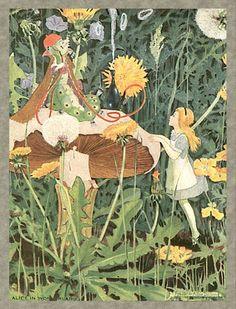 Alicia en el País de las Maravillas :Alice In Wonderland Art Nouveau Era painting painted 1910-1915 by Alice Goss Dillon