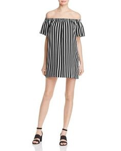 French Connection Striped Off-The-Shoulder Dress