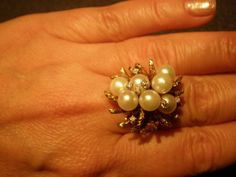 GORGEOUS VINTAGE HUGE 13.2 gr DIAMONDS/PEARLS IN 14 KT YELLOW GOLD  COCTAIL RING