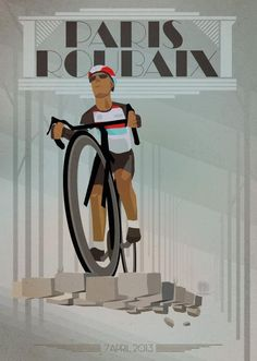 Paris-Roubaix poster commemorating Fabian-Cancellara's victory in this year's race by Tour de France - Daily Poster.