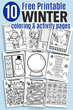 HUGE pack of printable winter coloring pages and winter activities for kids! Includes coloring pages, puzzles, games, seek and find, and winter matching, all in ink friendly black and white so kids can color them too. Perfect for winter break, snow days, sick days, or anytime!