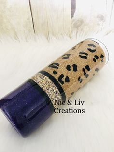 Custom Personalized Purple Gold mix glitter Stainless steel Tumbler/Leopard print/Classy/Elegant/Birthday gift/Mothers Day gift/Gift for her - Emely Diy Tumblers, Custom Tumblers, Glitter Tumblers, Girls Tumbler, Tumbler Cups, Mother Birthday Gifts, Mother Day Gifts, Custom Cups, Tumbler Designs
