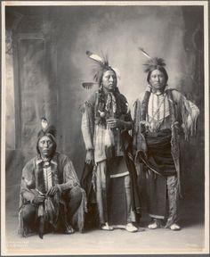 L-R: Ah-keah-boat (aka Two Hatchet, aka Jim Two Hatchet), To-bah (aka Frank Tobah), Kau-yoodle (aka Jimmy Hummingbird) - Kiowa - 1898
