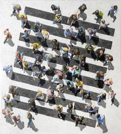 a different perspective.   'Pedestrian 284'. Mixed media on cavas. Jim Zwaldo