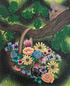 Blomstermandala  by Maria Trolle I used prismacolor, Caran d ache luminance…