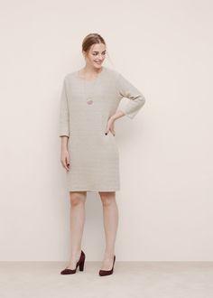 Textured cotton dress - Dresses Plus sizes Plus Size Dresses, Plus Size Outfits, Mango Outlet, Fabric Textures, Cotton Dresses, Cotton Fabric, High Neck Dress, Stylish, Sleeves