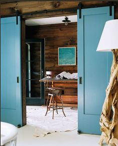 blue sliding doors