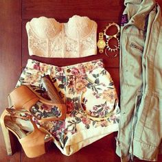 high waist shorts and a cropped top.