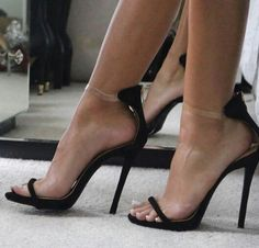Classic pair of ankle strap pumps with an adorable bow accent for added detail. Soft suede-like material with curved toe finish. Open Toe High Heels, Platform High Heels, Black High Heels, Ankle Strap Heels, Strappy Heels, Stiletto Heels, Shoes Heels, Stilettos, Talons Sexy
