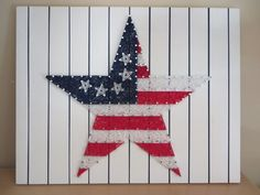 American Flag String Art KIT - Stars and Stripes - Kit Includes String, Nails, Painted Board, Instructions