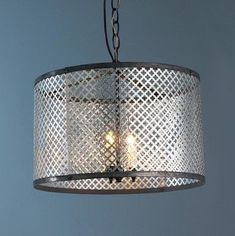 Radiator Screen Drum Shade Pendant Light 3 x 40 watts (candelabra base). Drum shade with a canopy and chain. Shabby Chic Lamp Shades, Rustic Lamp Shades, Modern Lamp Shades, Small Lamp Shades, Light Shades, Diy Light Shade, Diy Drum Shade, Diy Chandelier, Chandelier Shades