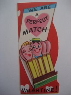 Vintage Valentine Card Anthropomorphic Book of Matches A Perfect Match Unused | eBay