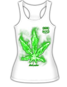 39a81b69fca Shop Route 420 Marijuana Weed Ganja Pot Leaf Mota-vation Tank Top Shirt(Sz  SM- XL) - White - and Discover a Huge Selection of Women s Camis at  Affordable ...