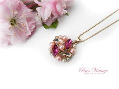Pretty Pink Navette Rhinestone Necklace//Pearl Cluster Pendant//Gold Tone Vintage Necklace