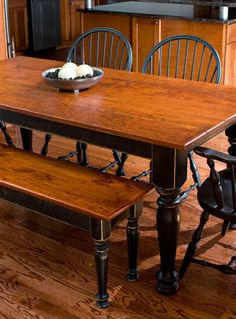 Cherry Dining Table & Matching Bench by Designs in Wood