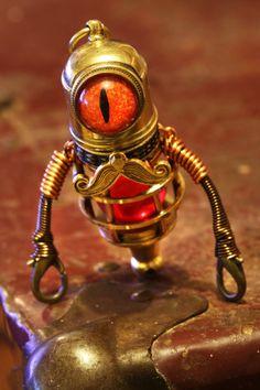 Steampunk Minion Robot Sculpture with Mustache