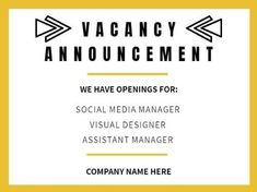 A yellow framed Job Vacancy template with a white background and black bold writing. Assistant Manager, Company Names, Announcement, Positivity, Social Media, Templates, Writing, Yellow, Black